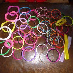 Giant Lot of 69 1980's Bracelets Plastic Gummy etc